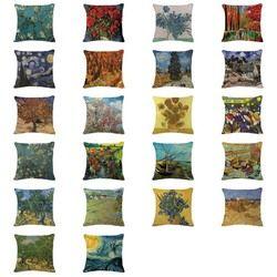 2019 Baru Melemparkan Sarung Bantal Minyak Dicetak Bunga Matahari Bantal Ruang Tamu Besar Dekorasi Rumah Kustom Linen Van Gogh Melempar almofada