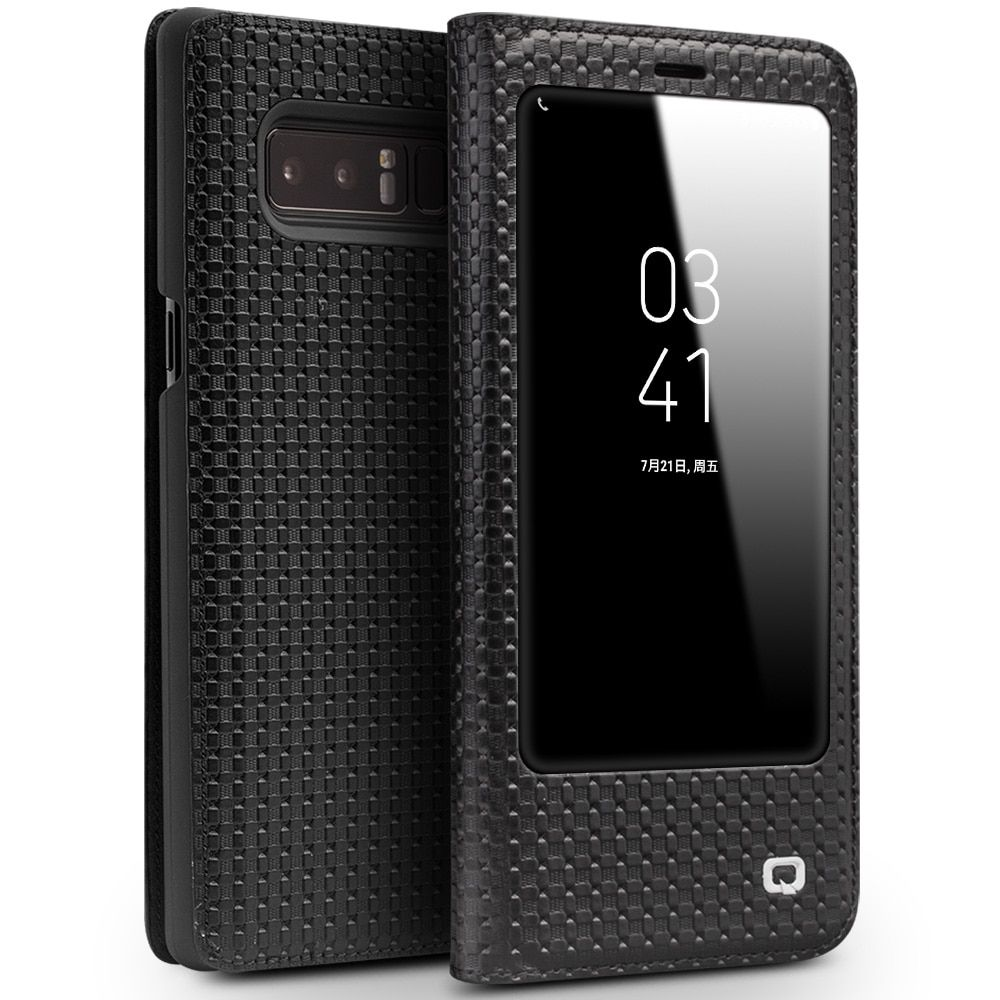 QIALINO Smart View Flip Genuine Leather Window Case for Galaxy Note 8 Cover for Samsung Galaxy Note8 with Sleep Wake Up Function