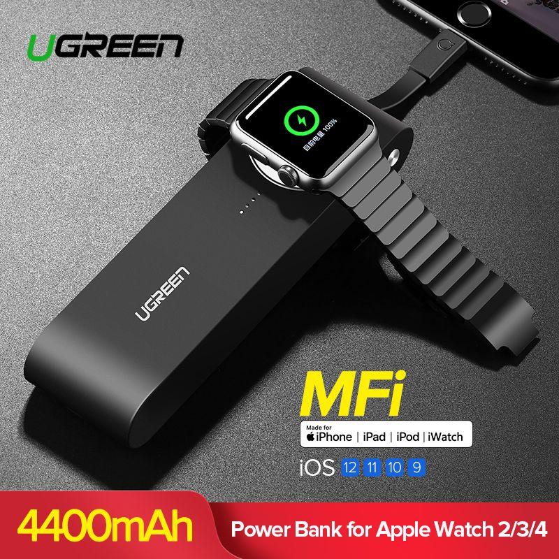 Ugreen Drahtlose Ladegerät Power Bank 4400 mah für Apple Uhr 4/3/2 iPhone X 8 Externe Batterie ladegerät für Handys Poverbank