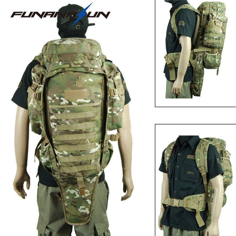 Tactical USMC Military Rifle Backpack Large Padded Dual Shotgun Carrying Molle Bag Hunting Gun Backpack Hiking Climbing