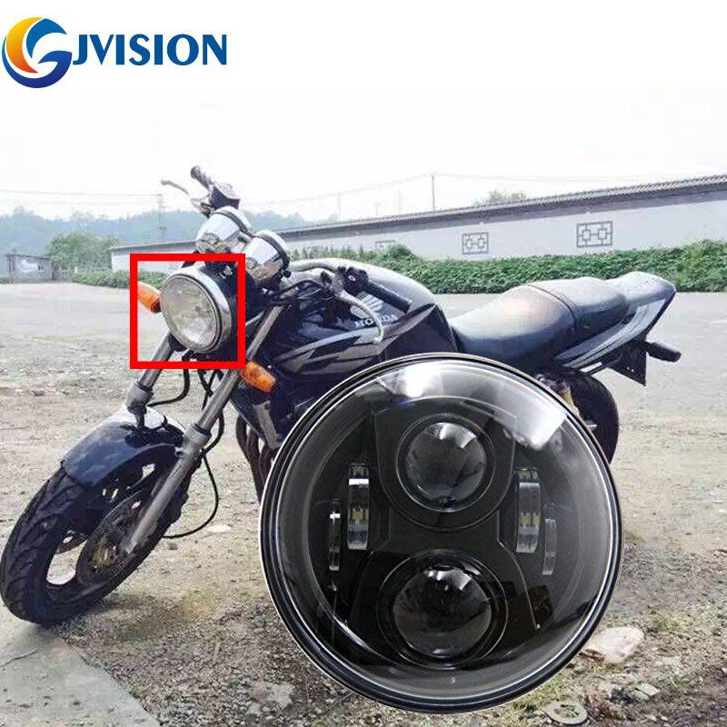 Livraison gratuite noir moto phare LED 7 pouces 75W haut/bas faisceau pour Honda CB400 CB500 CB1300 phare