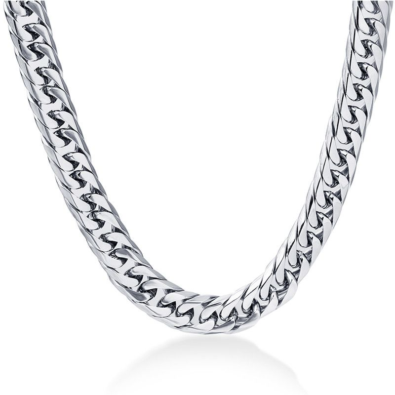 LETAPI 8mm wide Men's Necklace 24inch Stianless Steel silver Color men Punk Cool chain necklace