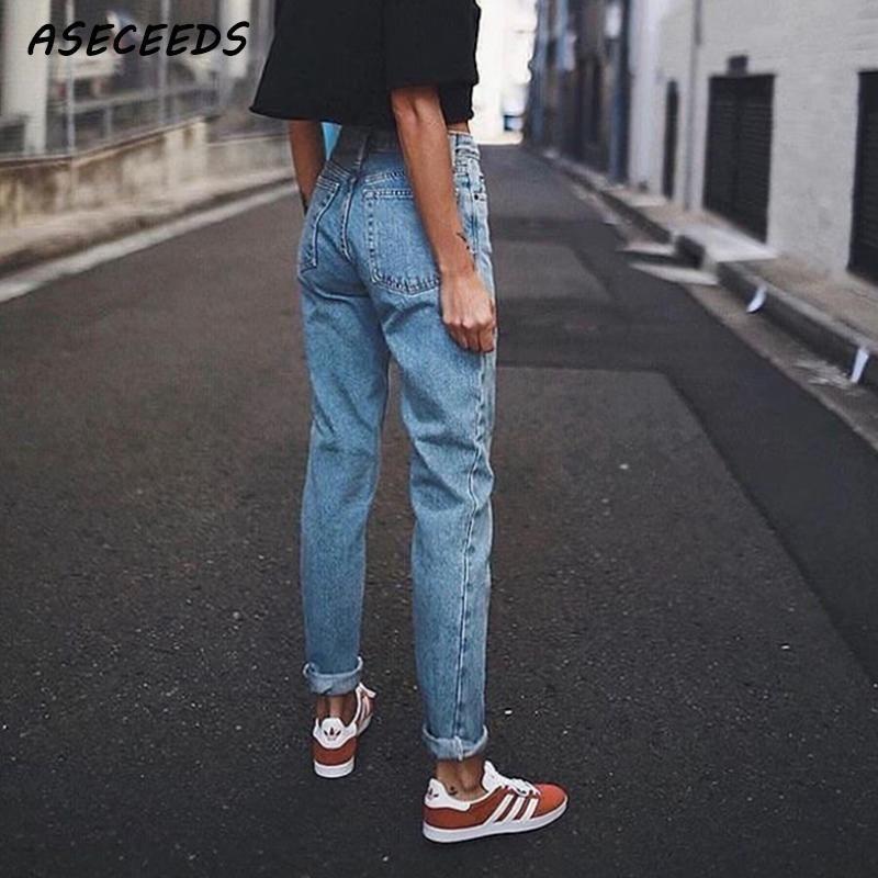 Vintage dames petit ami jean pour femmes maman taille haute jean bleu décontracté crayon pantalon coréen streetwear denim pantalon