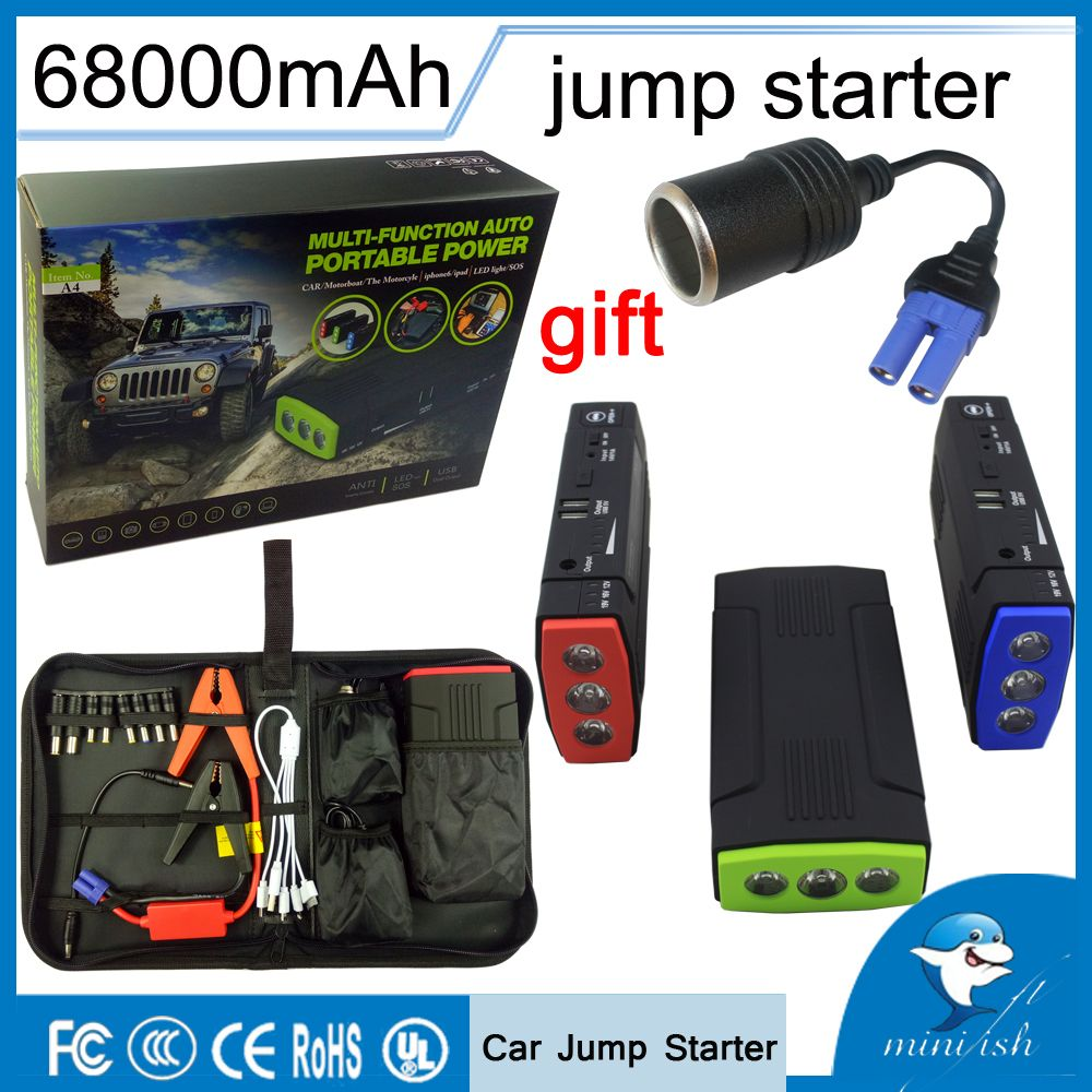 Promotion Multi-Function Mini Portable Emergency Battery Charger Car <font><b>Jump</b></font> Starter 68000mAh Booster Power Bank Starting Device