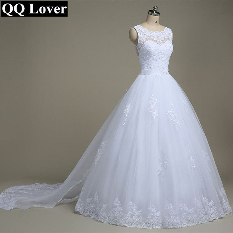 QQ Lover 2018 A-Line See Through Back Sexy Lace Wedding Dresses With Train Bridal Gown Vestido De Noiva