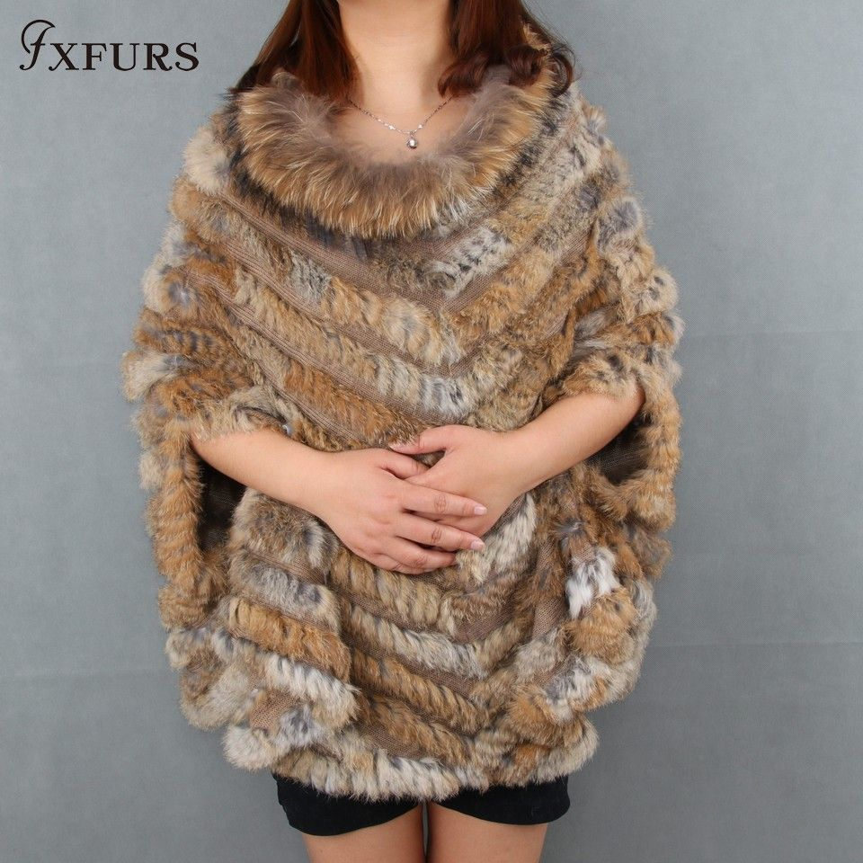 2017 New Women Fashion Pullover Knitted Genuine Rabbit Fur Raccoon Fur Poncho Cape Real Fur Knit Amic Wraps Batwing Sweater
