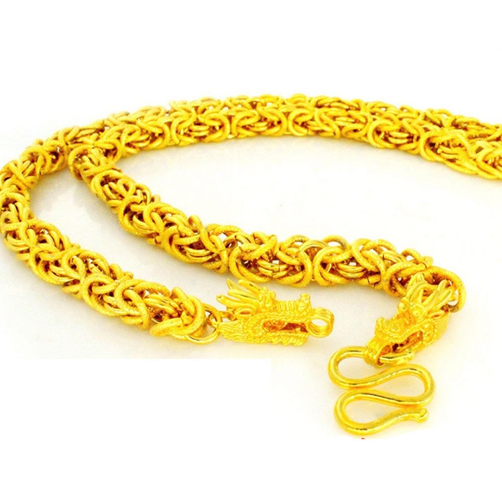 Hip Hop Jewelry Yellow Gold Filled Cool Mens Chain Necklace With Dragon Heads