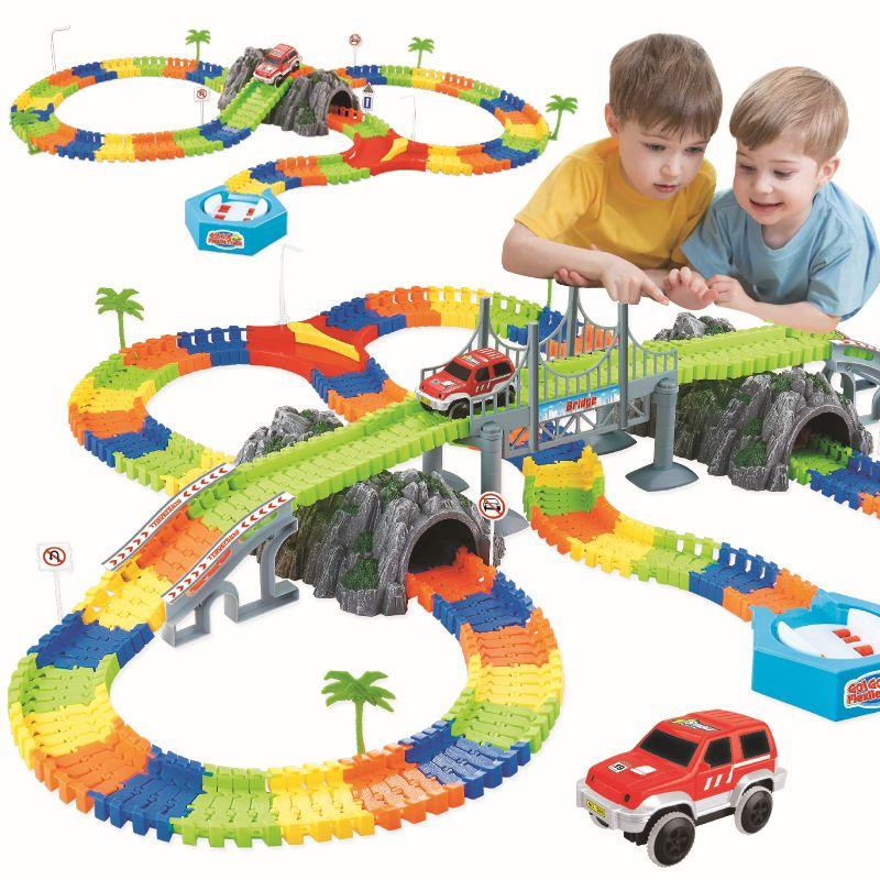 coaster DIY railway road flexible track toys railroad flex race tracks set 96/144/192/240PCS rail cars toys gift for children