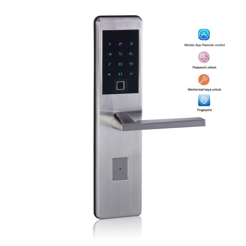 Inteligente Control de acceso Bluetooth Smart teclado electrónico number puerta bloqueo biométrico de huellas dactilares cerradura de puerta con tarjeta de código APP