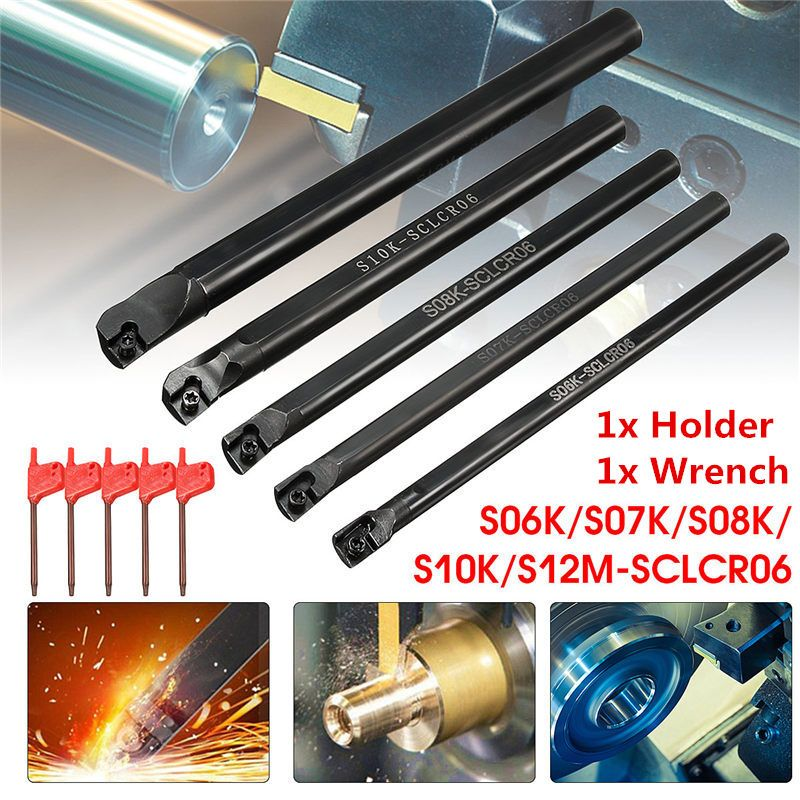 1Set S06K/S07K/S08K/S10K/S12M-SCLCR06 Lathe Turning Tool Holder Boring Bar For CCMT