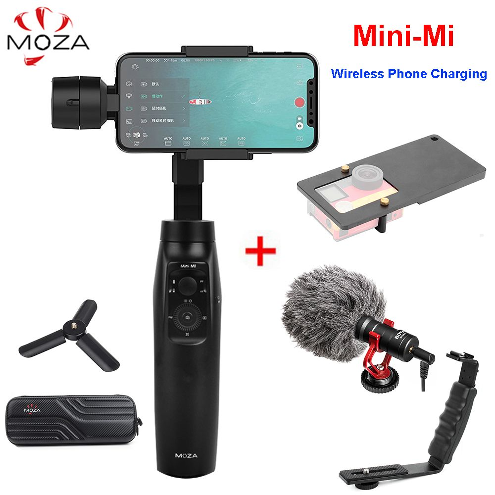 MOZA Mini-Mi 3-Axis Handheld Gimbal Wireless Charging Stabilizer for iPhone X 8Plus 8 S9 S8 Action Camera PK Zhiyun Smooth 4 / Q