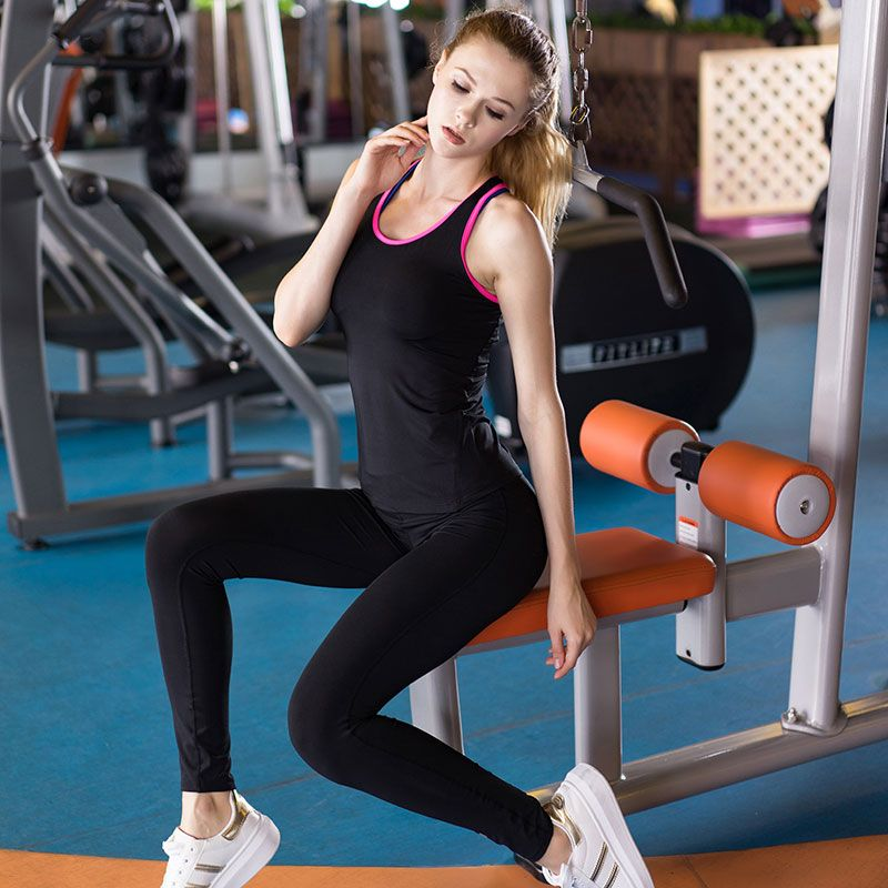 Yuerlian 2 pcs Sexy women's tracksuits Fitness Tight Running Vest Legging Pant Tank Top Sweatshirt for women Gym Yoga Sport Suit