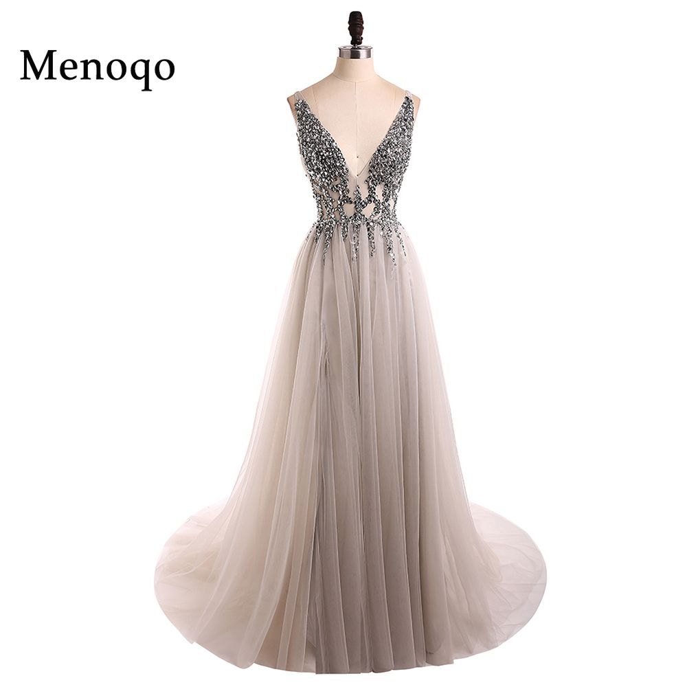 V Neck Sparkly Prom Dresses 2018 Backless Evening Party Dress Elegant Sexy See Through High Split Vestido de Festa Real Photo