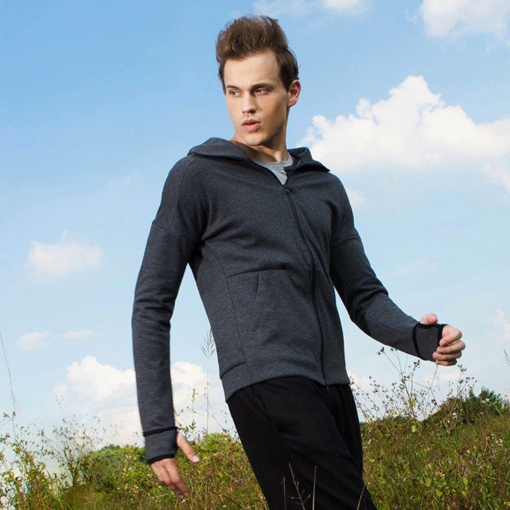 K95107 Männer Laufende Jersey Hoodie Daumenloch Männer Jacke Fitness Mantel Trainingsanzüge Trainings Langarm Sweatshirts Reißverschluss Jogging