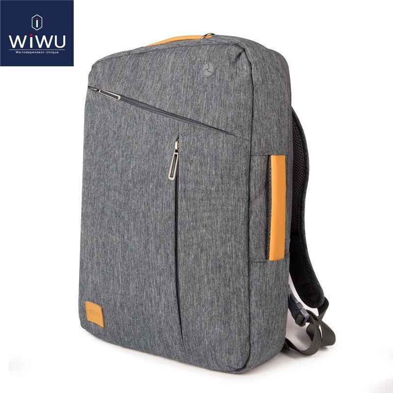 2018 WIWU Laptop Backpack 15.6 15.4 14 Canvas Waterproof Backpack Leather Bag for Macbook Pro 15 Men's Backpack Laptop Bag 15.6