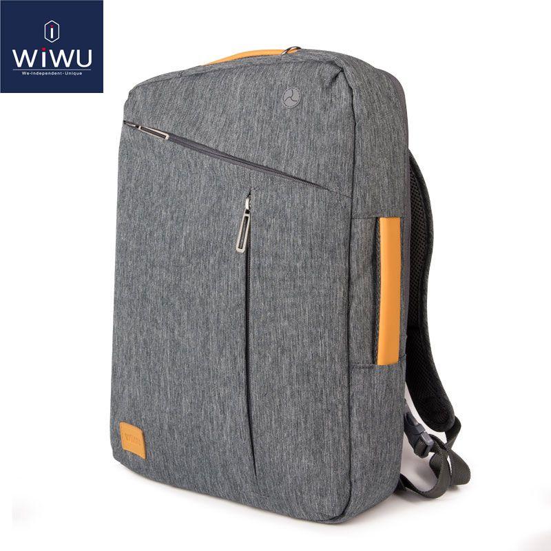 2018 WIWU Laptop Backpack 15.6 15.4 14 Canvas Waterproof Backpack Leather Bag for Macbook Pro 15 Men's Backpack Laptop Bag 15.6