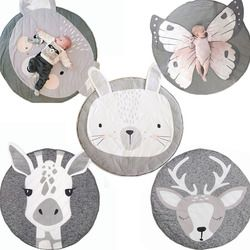 INS Baby Play Mats Kids Crawling Carpet Animal Round Floor Rugs Baby Bedding Blanket Cotton Game Pads Children Room Decor 90CM