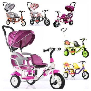 Kinder Dreirad Fahrrad Doppel Dreirad Fahrrad Twins Baby Kinderwagen Drei 3 Räder Kinder Doppel Fahrrad Dach Kinderwagen Buggy Kinderwagen