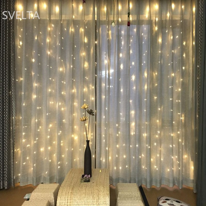SVELTA 4X4M 512Bulbs LED String Fairy Lights Garland Christmas Curtain Light For Holiday Wedding Xmas Party Home Room Decoration