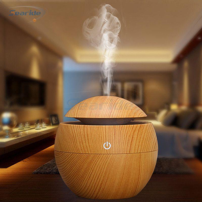 Mini humidificateur d'air à ultrasons USB diffuseur d'arôme Grain de bois LED veilleuse électrique diffuseur d'huile essentielle purificateur d'air brume