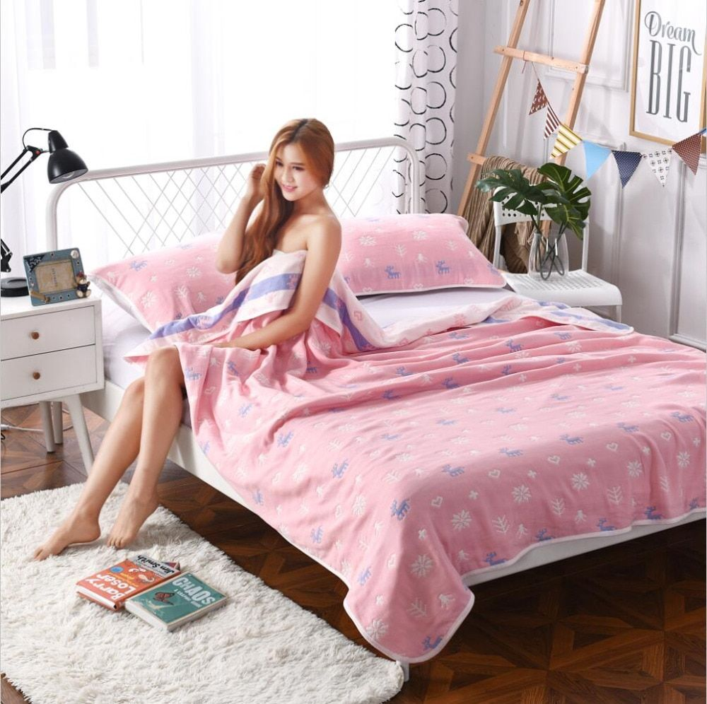 J pinno super soft pink summer six layers gauze pure cotton 100% teenager adults throw blanket bed size 200*230cm