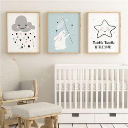 WXDUUZ Nuages Étoiles Salon Décor À La Maison Affiche D'art de Mur de Crèche Enfants Chambre Peinture Toile Peinture Mur Décor A131