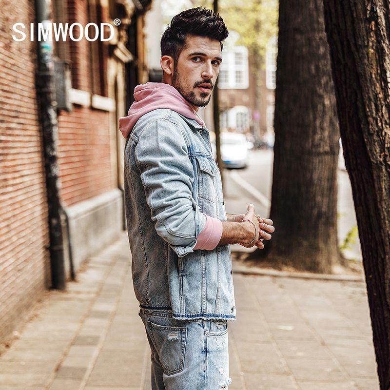 SIMWOOD 2018 Spring Denim Jacket Men Fashion jeans jackets Slim Fit Curl Hem Coats Pockets High Quality Outerwear NK017005
