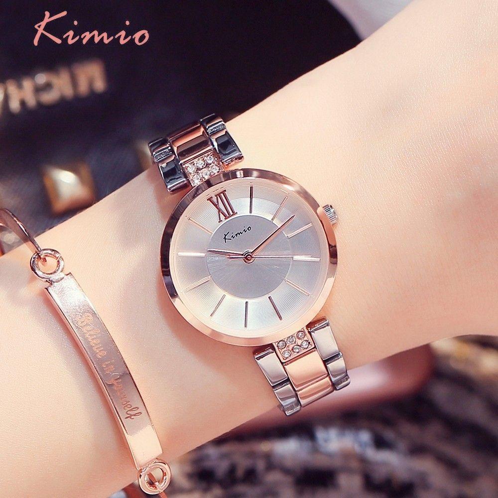 KIMIO Simple mince strass or Rose montres à Quartz femmes mode 2018 dames montre femmes montres robe montre-bracelet pour les femmes