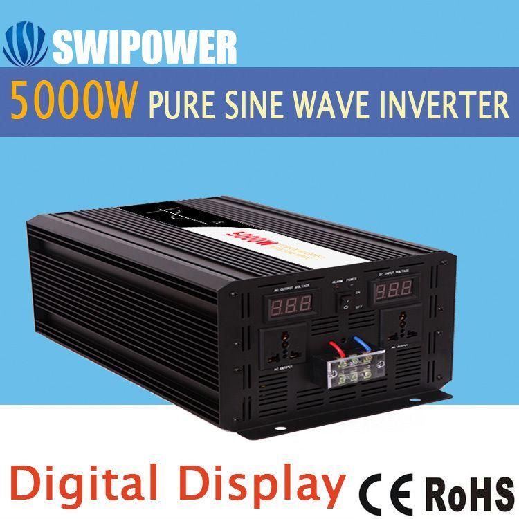 5000 Watt rein sinus solar power inverter DC 12 V 24 V 48 V zu AC 110 V 220 V digitalanzeige