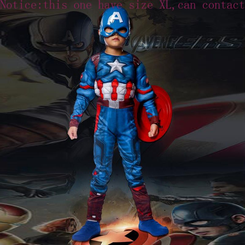 Superhero Kids Muscle Captain America Costume Avengers Child Cosplay <font><b>Super</b></font> Hero Halloween Costumes For Kids Boys Girls S-XL