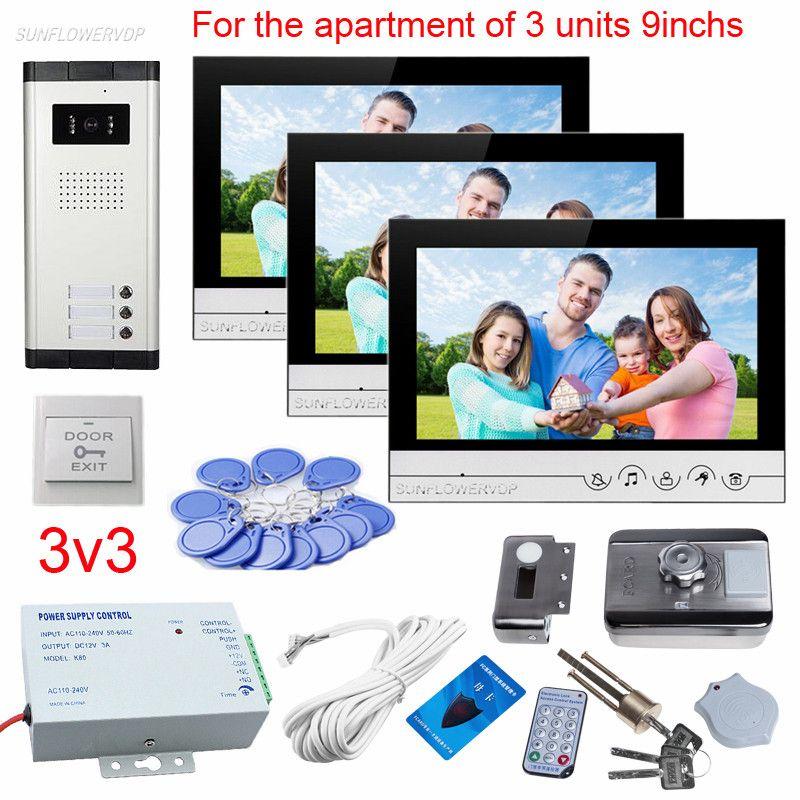 9 Inches Color Video Door Phone Doorbell For 3 Apartments Video Doorphones With Rfid Card Electronic Door Lock Video Call Units