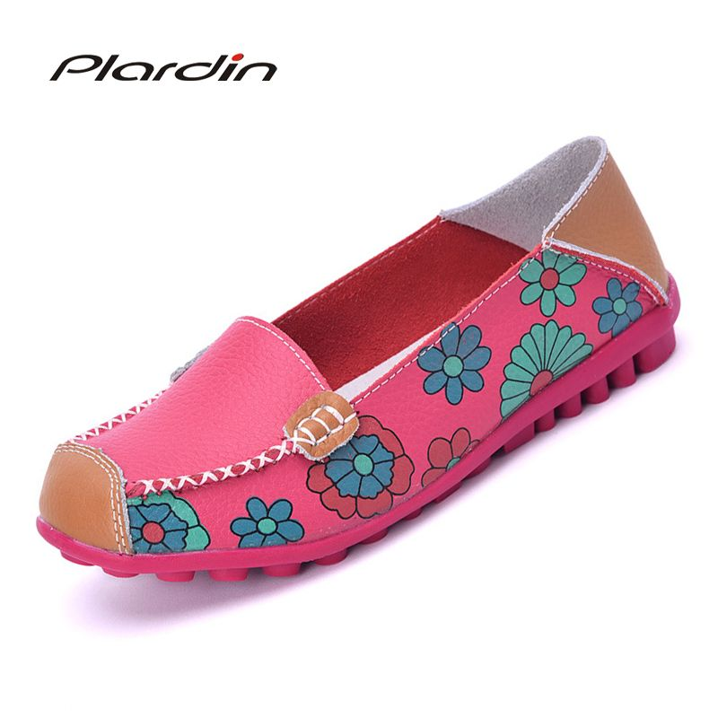 2018 Cow Muscle Ballet Summer Flower Print Women Genuine Leather Shoes Woman Flat <font><b>Flexible</b></font> Nurse Peas Loafer Flats Appliques