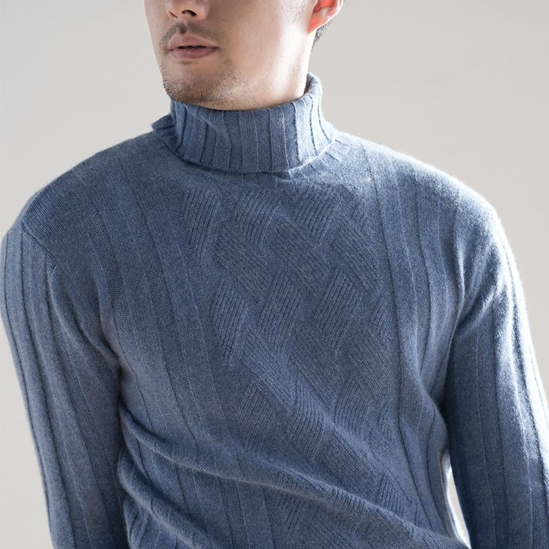 Winter Men's Sweaters 100% Pure Cashmere Knitting Jumpers New Arrival Man Turtleneck Pullovers 3 Colors Male Standard Clothes