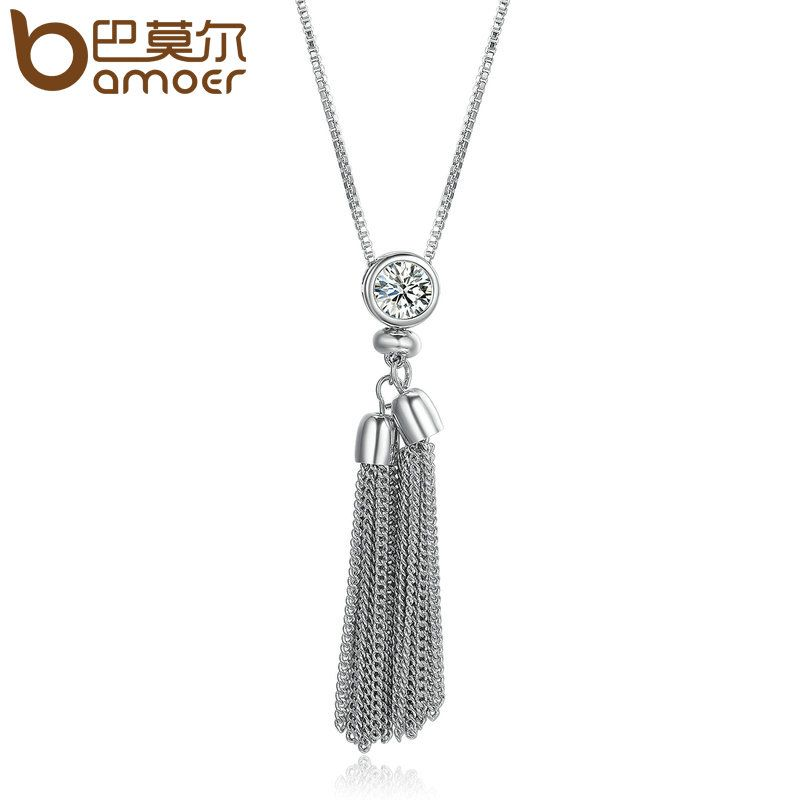 BAMOER 2018 New Arrival Silver Sweater Long Tassel Necklace Women Round Chain Long Pendant Necklace Jewelry YIN066