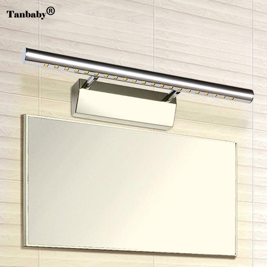 Tanbaby 3 Вт 5 Вт 7 Вт 12LED 21led 30LED 5050 SMD белый/теплый белый светодиод зеркало передний свет лампа Для ванной стены Нержавеющаясталь