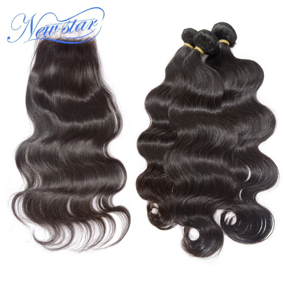 New Star Brazilian Virgin Hair Body <font><b>Wave</b></font> 3 Bundles Weave With A Free Or Middle Part Lace Closures Unprocessed Human Hair Weaving
