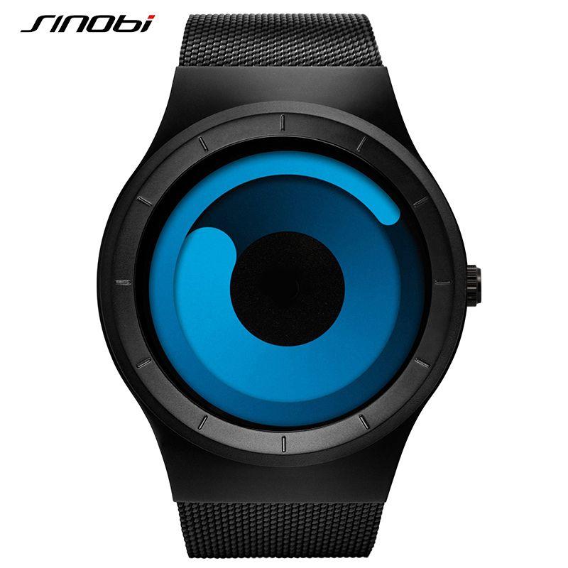 SINOBI Brand New Creative Rotation Men Watches 2018 Stainless Steel Mesh Strap Quartz Sport Watch Men Fashion Relogio Masculino