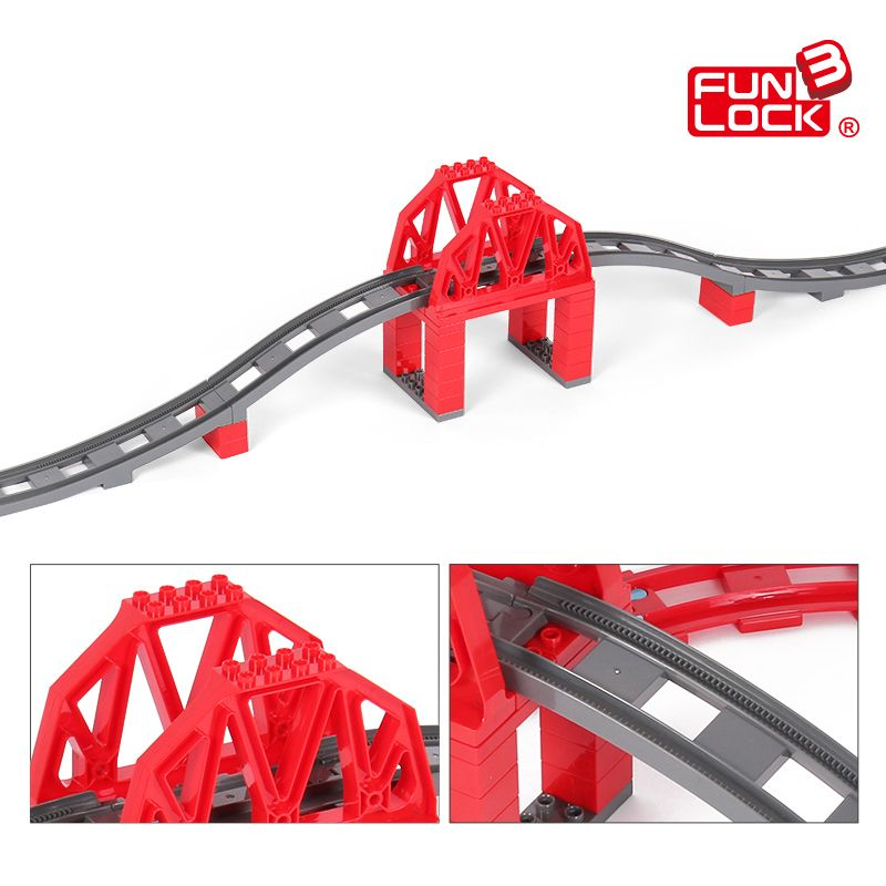 Funlock Duplo 39pcs Toys Train Bridge Building Blocks Set for Kids Creative Educational Train Tracks Bricks for Children