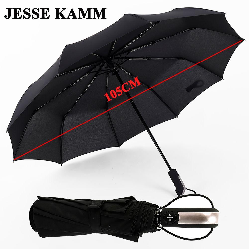 JESSE KAMM nouveau entièrement automatique trois pliant mâle Commercial Compact grand fort cadre coupe-vent 10 côtes doux parapluies noirs