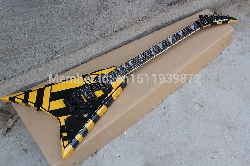 Jack sohn Flying V e-gitarre Trangle MOP Griffbrett inlay Floyd Rose Tremolo Schwarz Nadelstreifen Schlagbrett