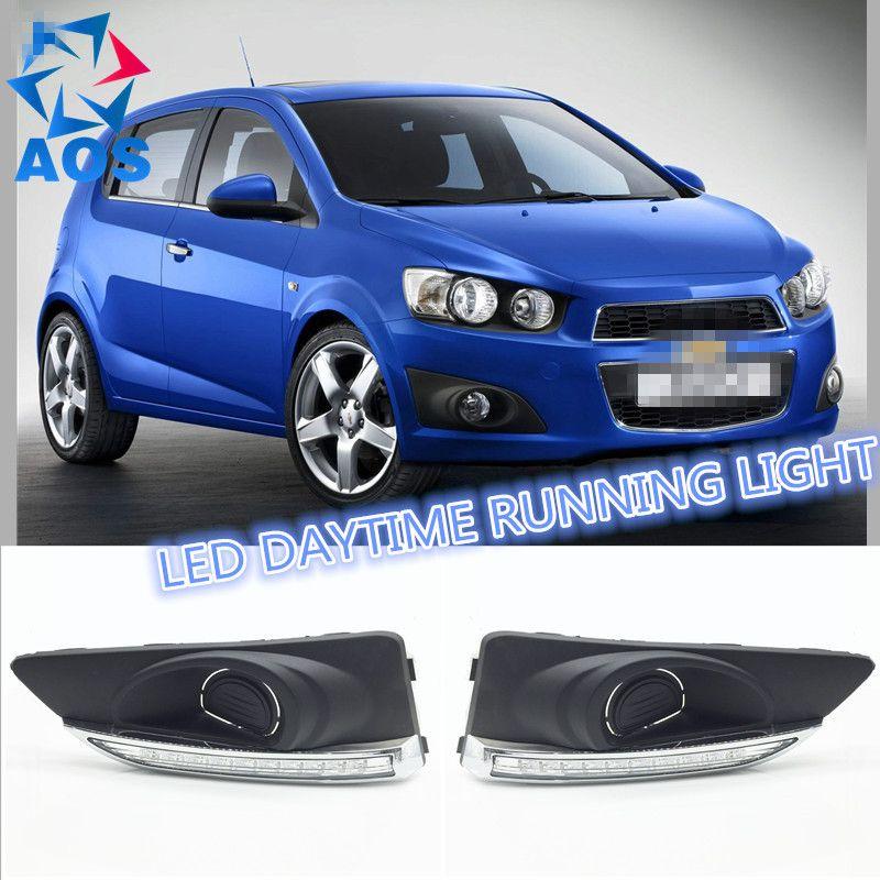 2 шт./компл. Тюнинг автомобилей днем Бег светодиодная автомобиля лампы дневного света для Chevrolet Aveo Соник 2012 2013 2014