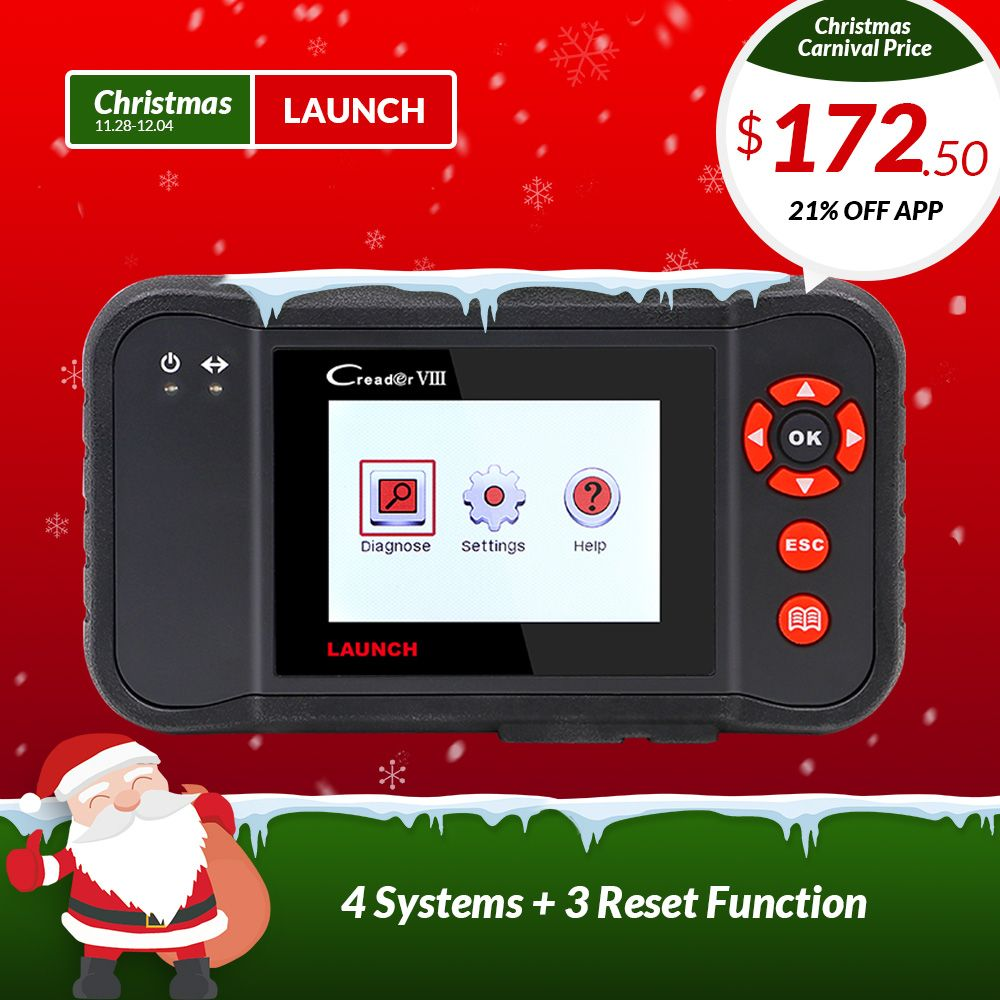 LAUNCH X431 Creader VIII 8 obd2 EOBD Code Reader Scanner tester ENG/ABS/SRS/Airbag + Brake/SAS/Oil reset function same as CRP129