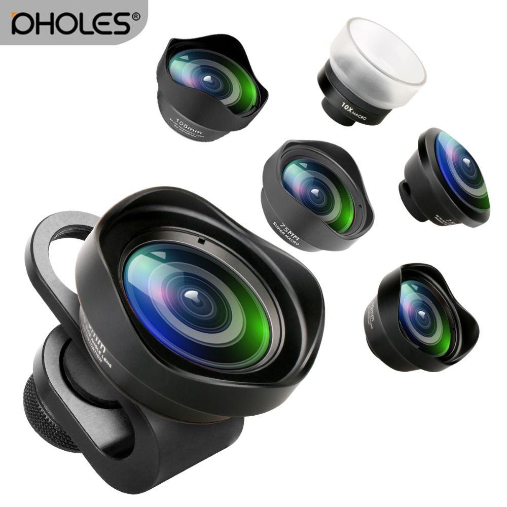 Pholes Grand Angle Fisheye Macro Téléphone Lentille 2X Téléobjectif Mobile Objectif Zoom Caméra Lentilles pour iPhoneX 8 Huawei P20Pro Samsung s8 S9