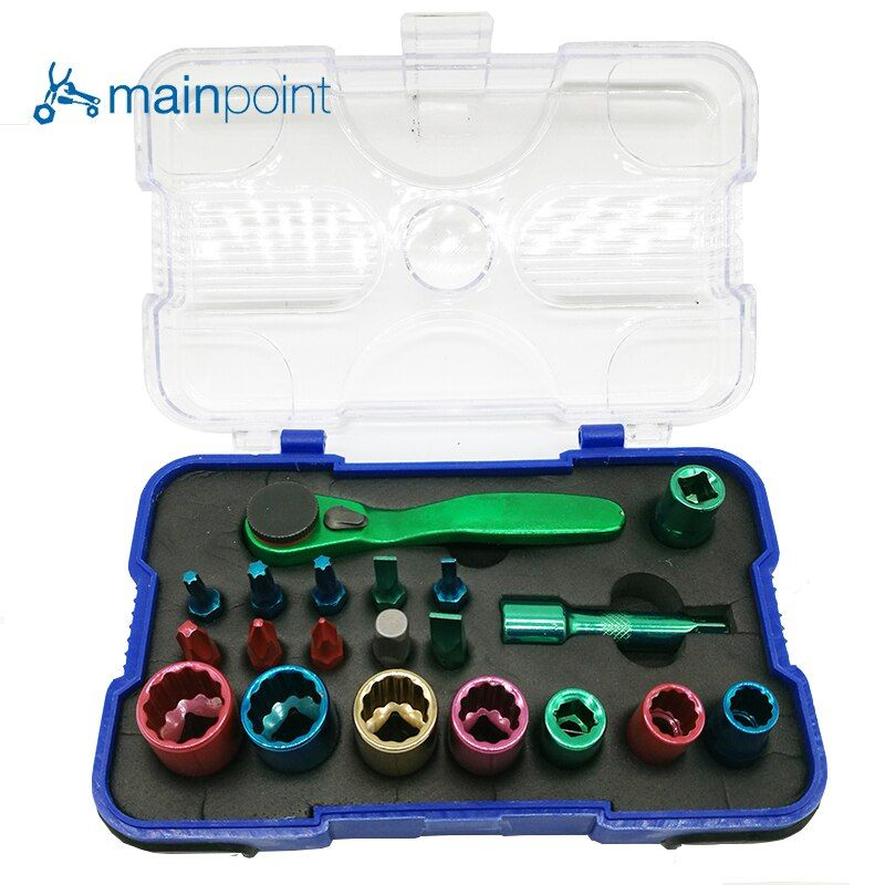 Mainpoint 20 Pcs Screwdriver Bits Socket Color Coded Multifunction Set CR-V,Portable Hand Tool Kit For Repair Tools