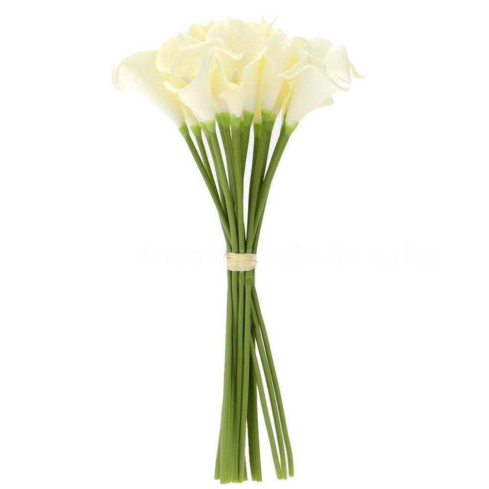 18x Artificielle Calla Lily Fleurs Unique Longue Tige Bouquet Réel Décor Couleur: Crémeux