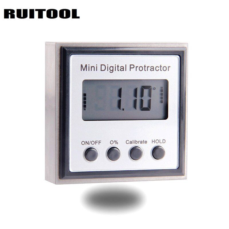 RUITOOL Mini Digital Angle Ruler Protractor Finder Inclinometer Stainless Steel Magnetic Electronic Level Measuring Instruments
