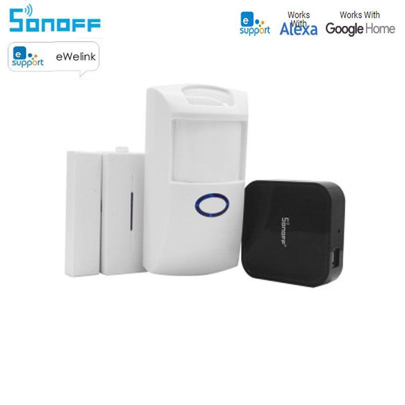Sonoff RF Bridge 433Mhz Wifi Wireless Signal Converter PIR+DW1 Door /Window Alarm Sensor smart Home Automation work with Alexa