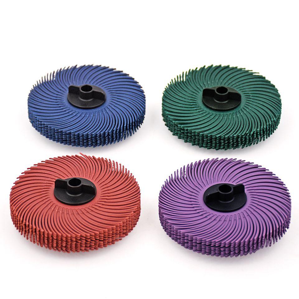 10 pièces 3 M disques de roue de brosse à poils radiaux outils abrasifs polissage brosses de meule pour meuleuse de banc avec 1 pc moyeu en plastique