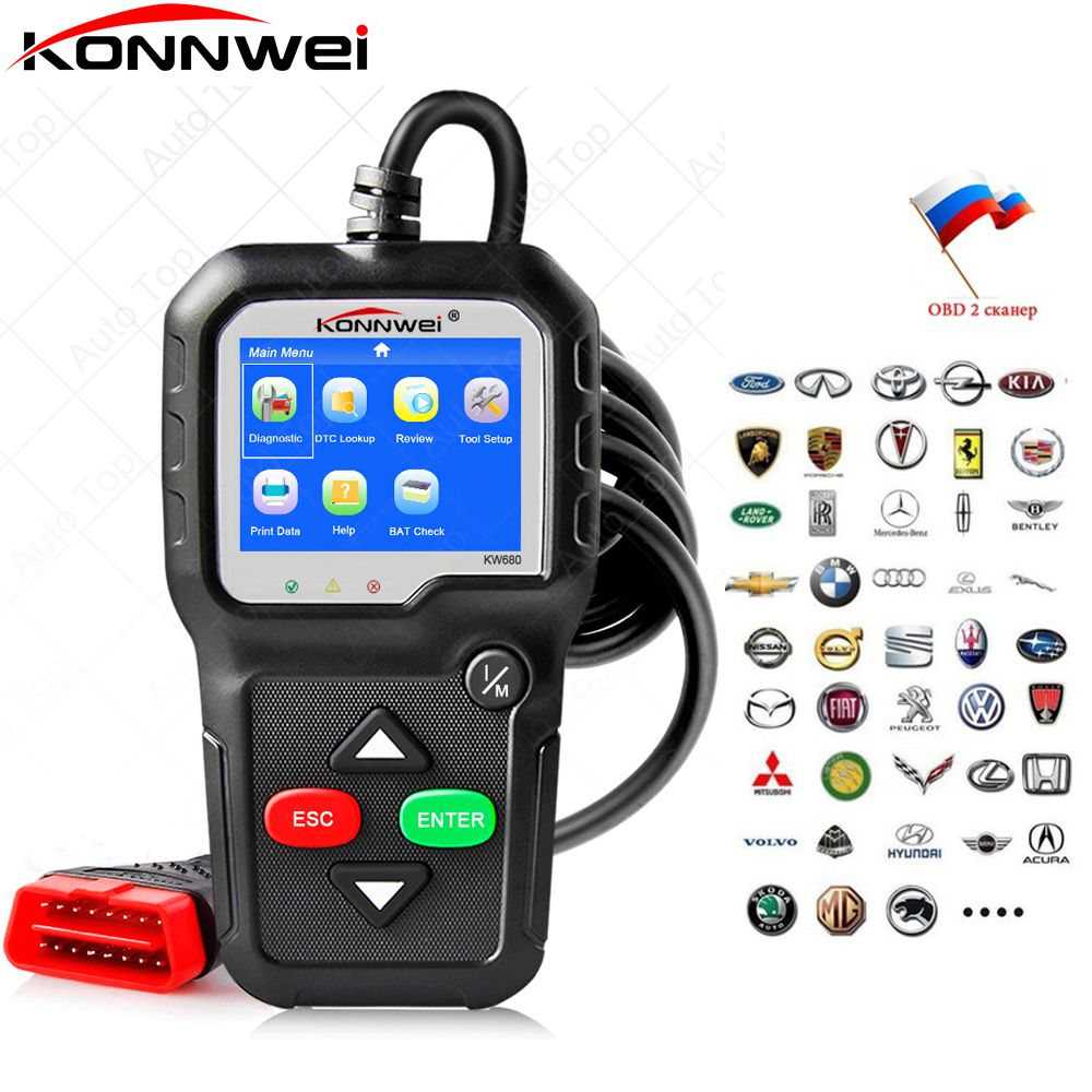 2018 OBD 2 OBD2 Autoscanner ODB 2 KONNWEI KW680 OBD2 Automotive Scaner with Multi-languages Auto Diagnostic Scanner in Russian