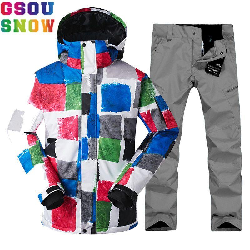Gsou Snow Brand зима лыжный костюм Для мужчин Лыжный спорт куртка Кальсоны сноубординга мужской лыжный Наборы для ухода за кожей сноуборд Водонеп...